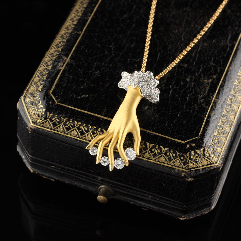 Vintage Carrera y Carrera 18K Yellow Gold & Diamond Hand Pendant Necklace