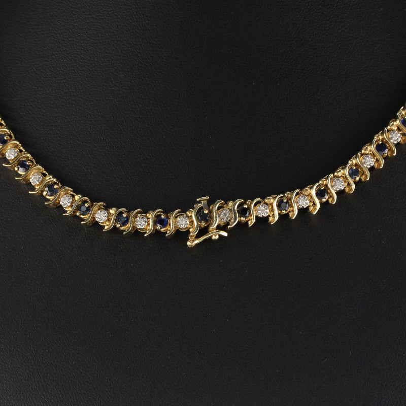 14K Yellow Gold Diamond And Sapphire Necklace