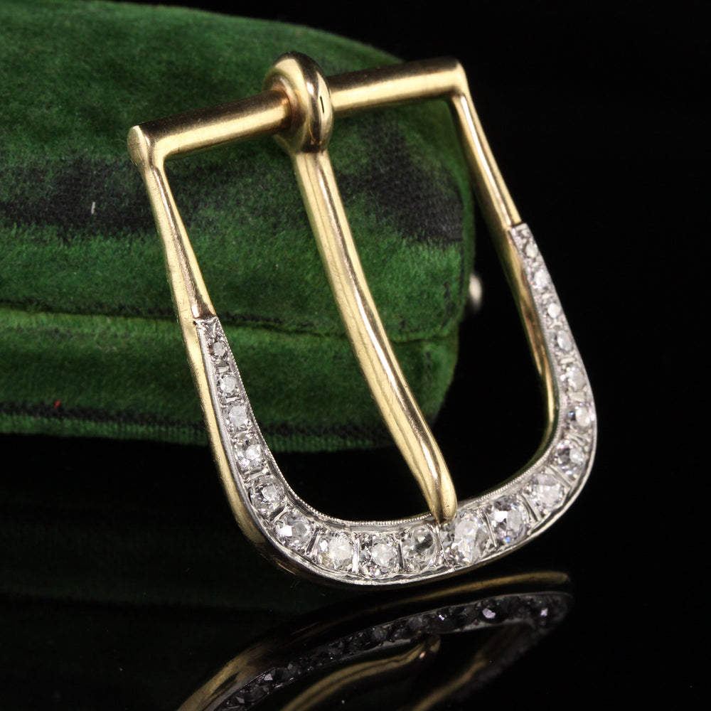 Antique Victorian Platinum and 14K Yellow Gold Diamond Buckle