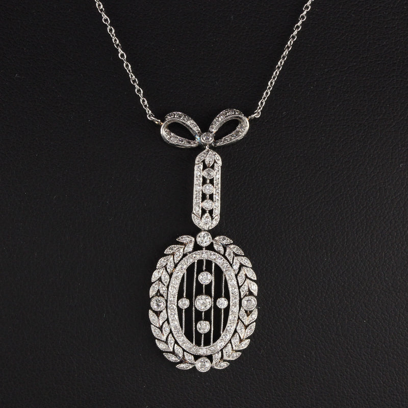 Antique Edwardian Platinum Wreath Bow Diamond Pendant Necklace