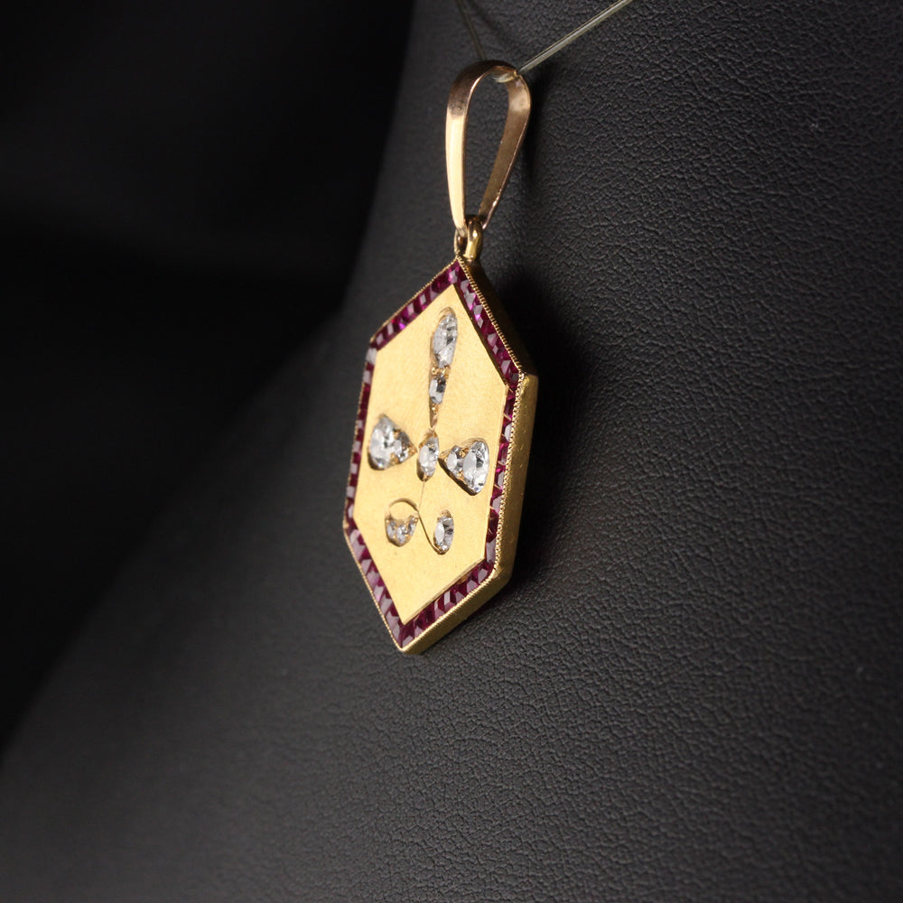 Antique Art Deco 14K Yellow Gold Old Euro Cut Diamond and Ruby Pendant
