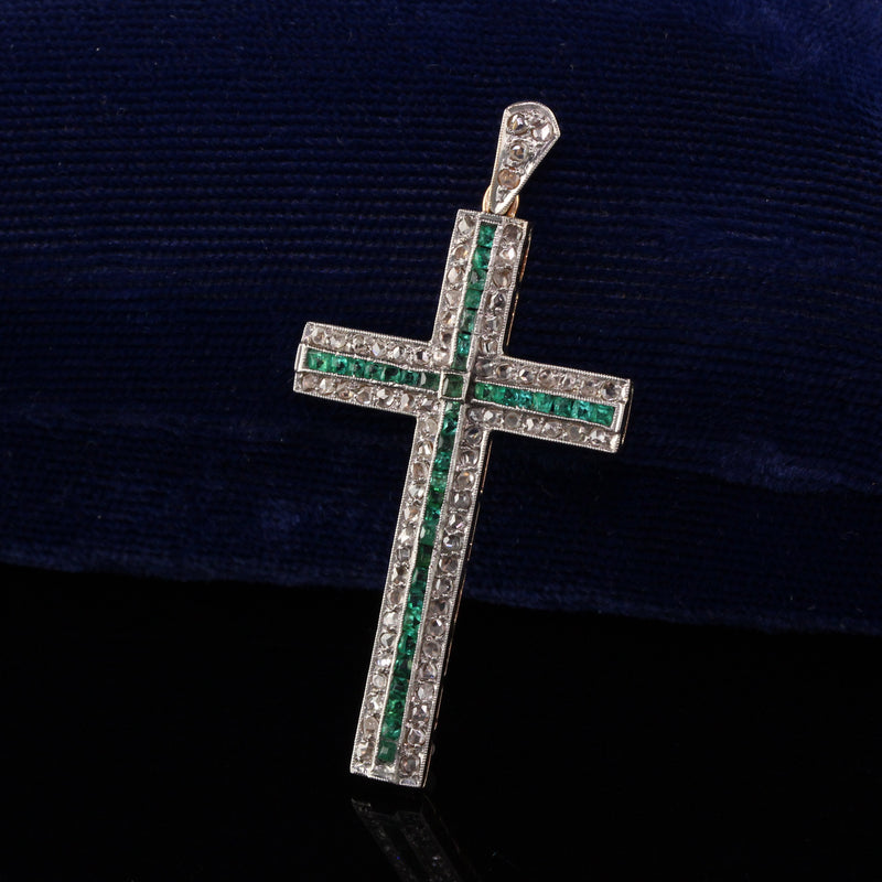 Antique Victorian 18K Yellow Gold Rose Cut Diamond and Emerald Cross