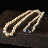 Antique Art Deco 14K Rose Gold Diamond and Sapphire Natural Akoya Pearl Necklace