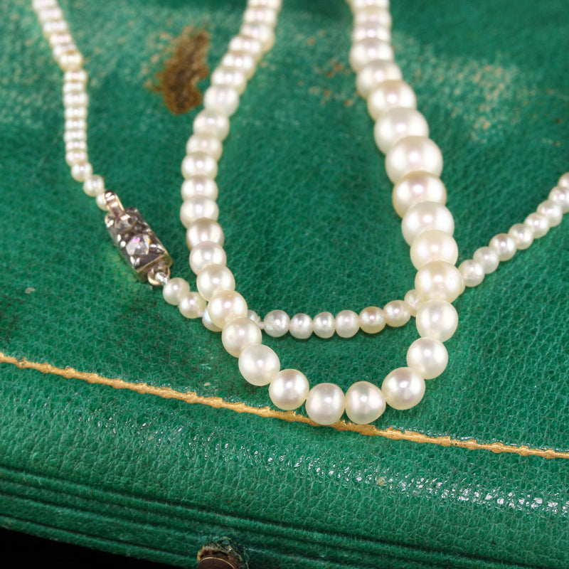 Antique Victorian 14K Yellow Gold Natural Pearl Graduated Strand Necklace - GIA
