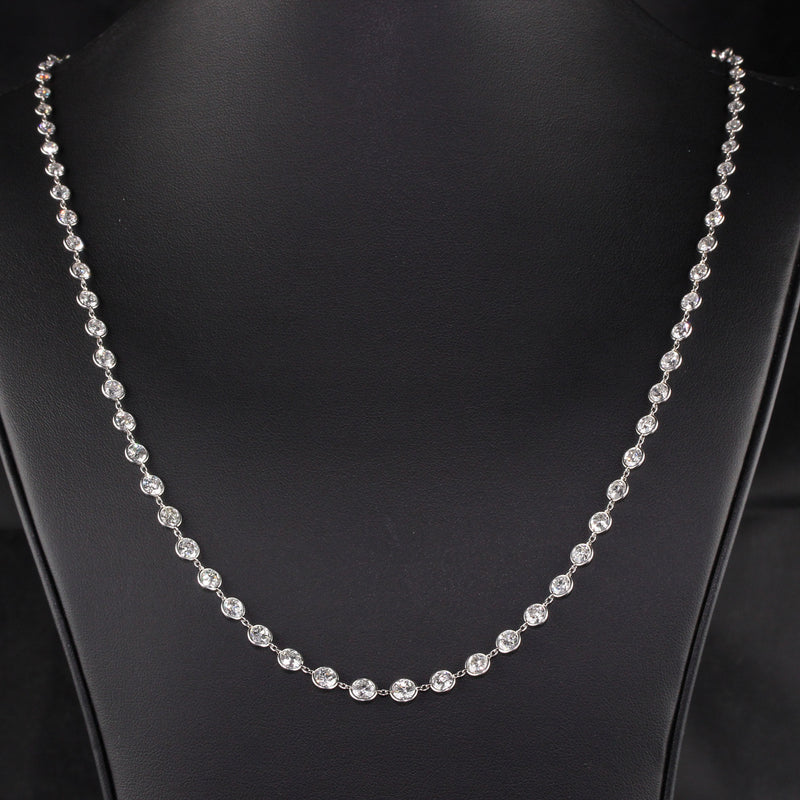Antique Art Deco Platinum Graduated Old European Diamonds by the Yard Necklace
