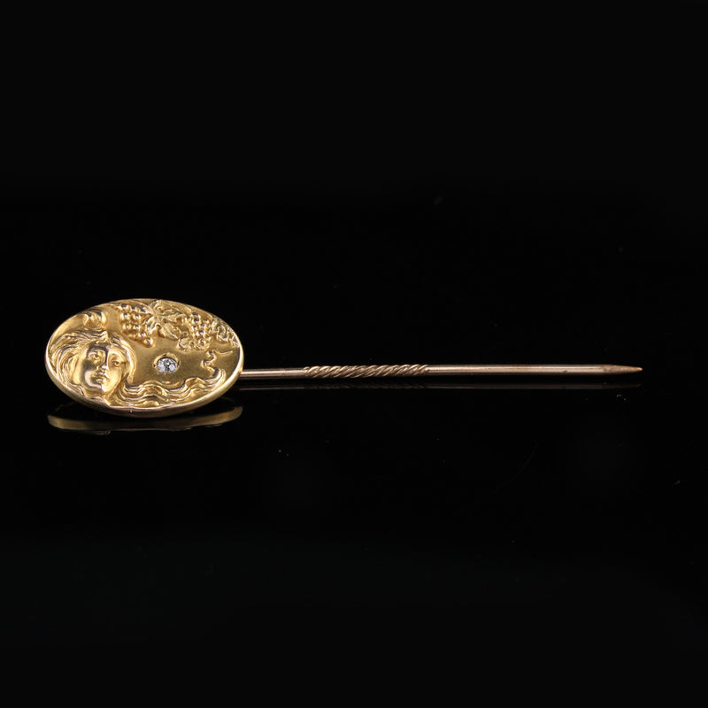 Antique Art Nouveau 10K Yellow Gold & Diamond Stick Pin