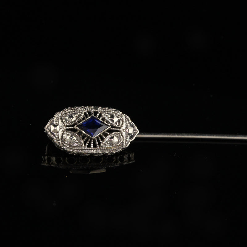 Antique Art Deco 14K White Gold Synthetic Sapphire Stick Pin