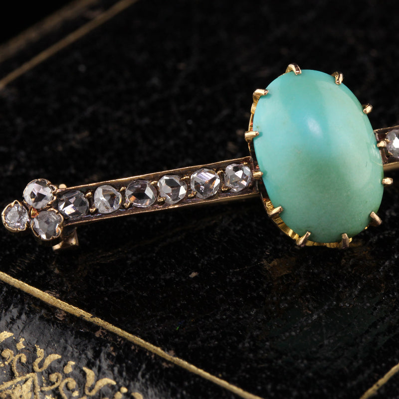 Victorian 18K Yellow Gold Turquoise and Diamond Brooch