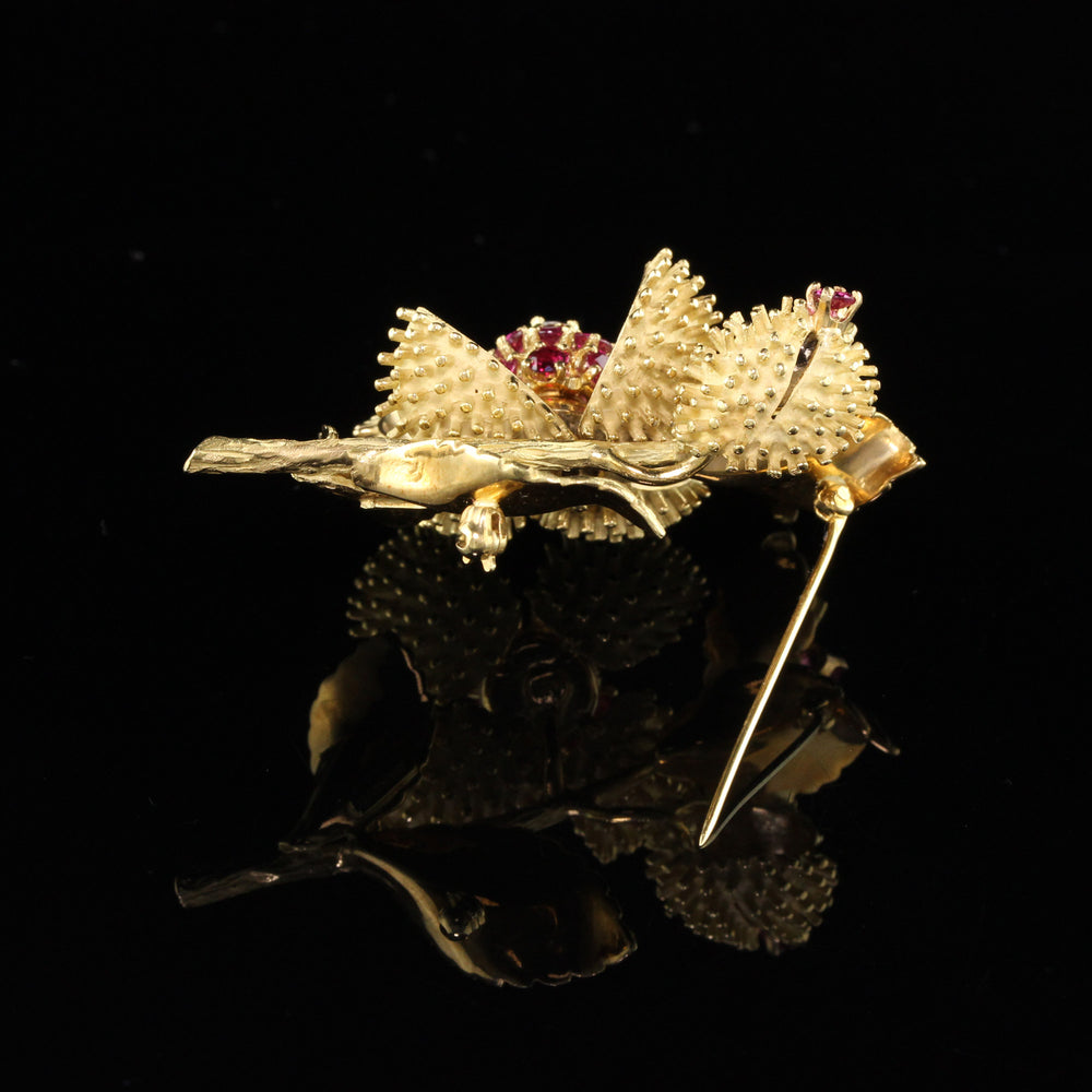 Vintage Estate Tiffany & Co 18K Yellow Gold Ruby and Diamond Flower Brooch