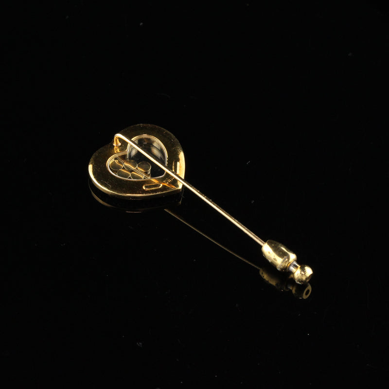 Vintage Chopard 18K Yellow Gold Happy Diamonds Heart Stick Pin