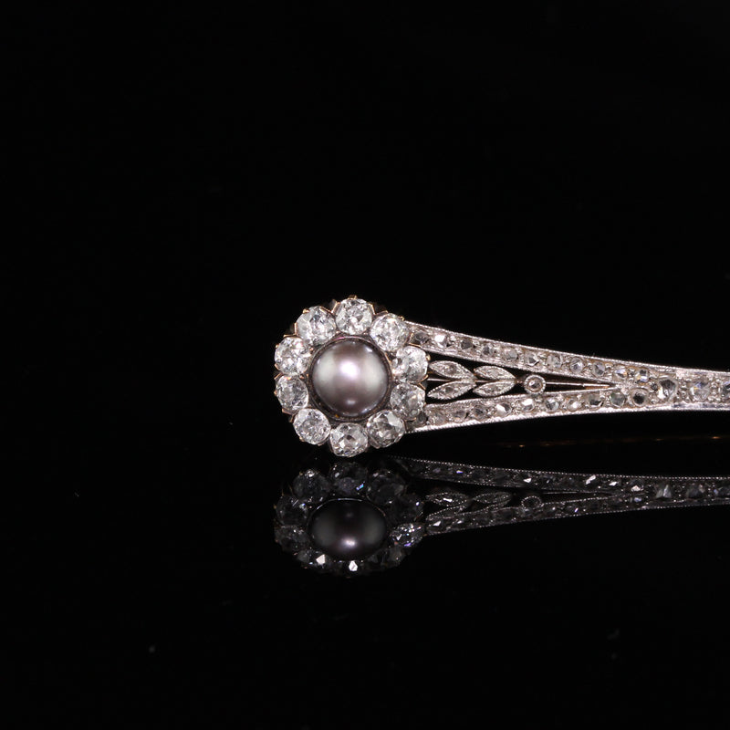 Antique Victorian Platinum Diamond and Pearl Brooch