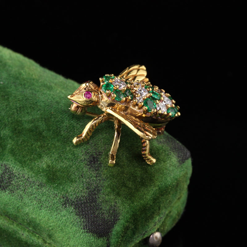 Vintage Herbert Rosenthal 18K Yellow Gold Diamond Emerald and Ruby Bee Pin