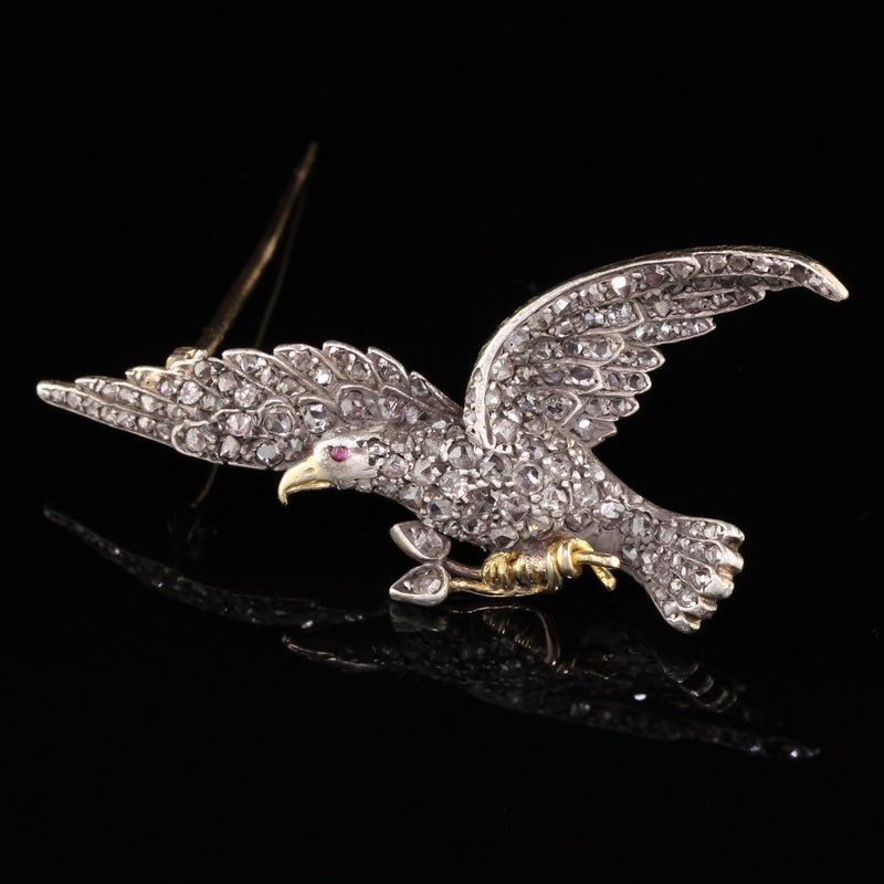 Antique Victorian 18K Yellow Gold Rose Cut Diamond  Eagle Pin