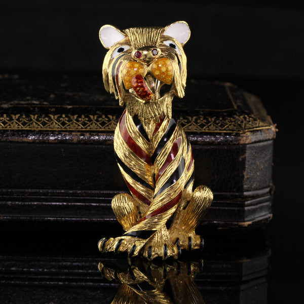 Merrin Retro 18K Yellow Gold Tiger Pin and Pendant