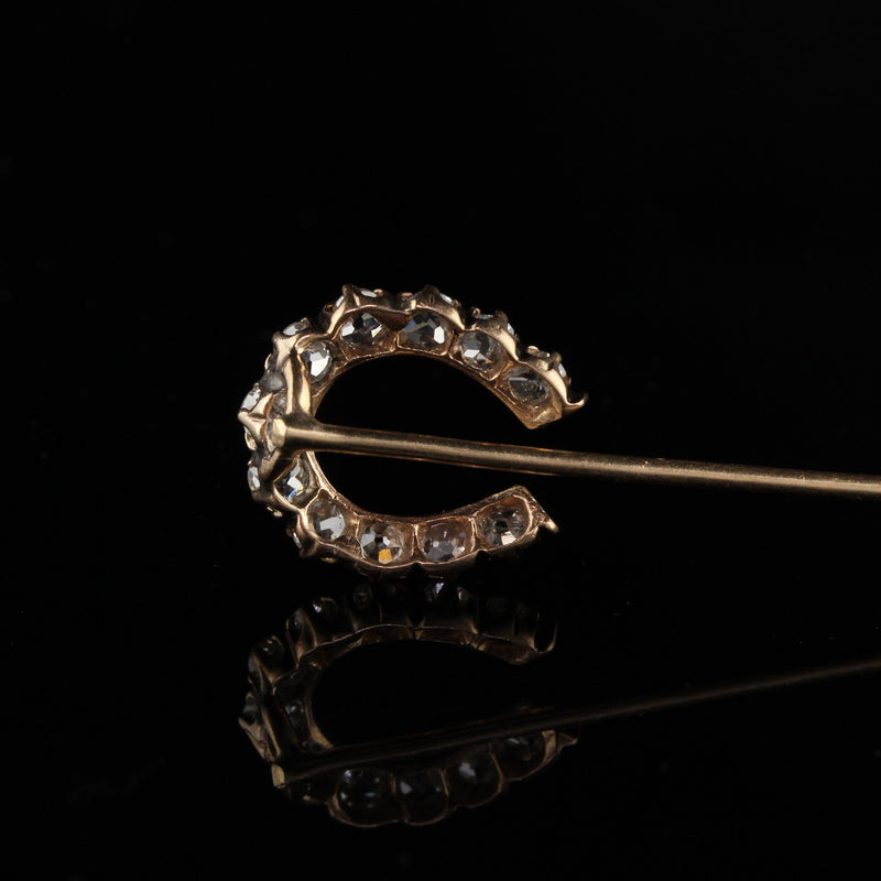 Antique Victorian 14K Yellow Gold Old Mine Cut Diamond Horse Shoe Pin