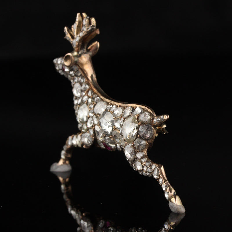 Antique Georgian 12K Rose Gold Rose Cut Diamond Deer Pin