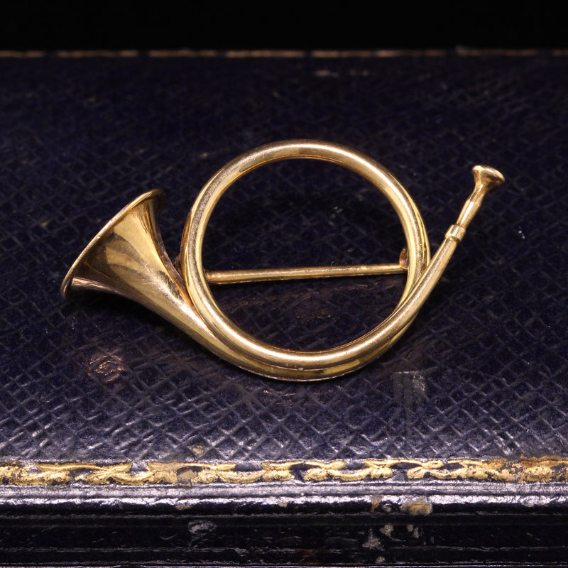 Antique Art Deco 14K Yellow Gold Fox Hunt Horn Pin