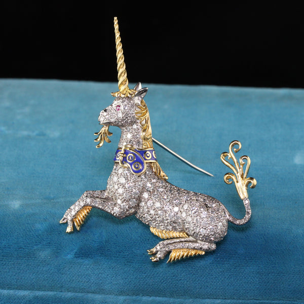 Vintage Mcteigue and Co 18K Yellow Gold Platinum Diamond Enamel Unicorn Brooch