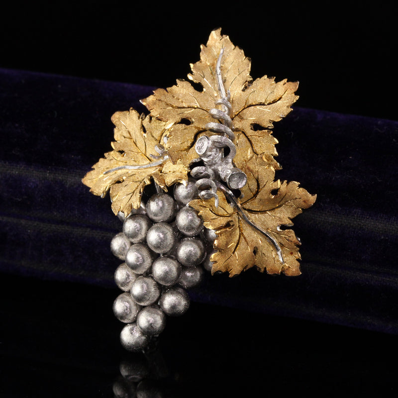 Vintage Estate Buccellati 18K Two Tone Gold Grapes Motif Pin