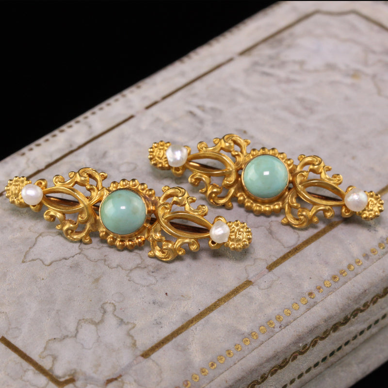 Antique Art Nouveau 18K Yellow Gold Turquoise and Pearl Collar Pins