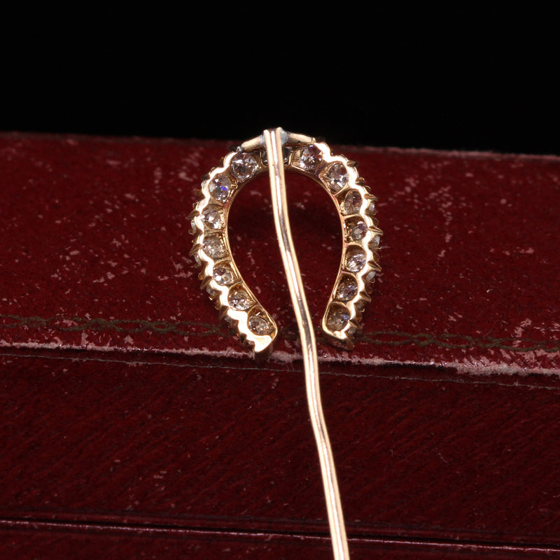 Antique Victorian 14K Rose Gold Old Mine Diamond Horseshoe Stick Pin