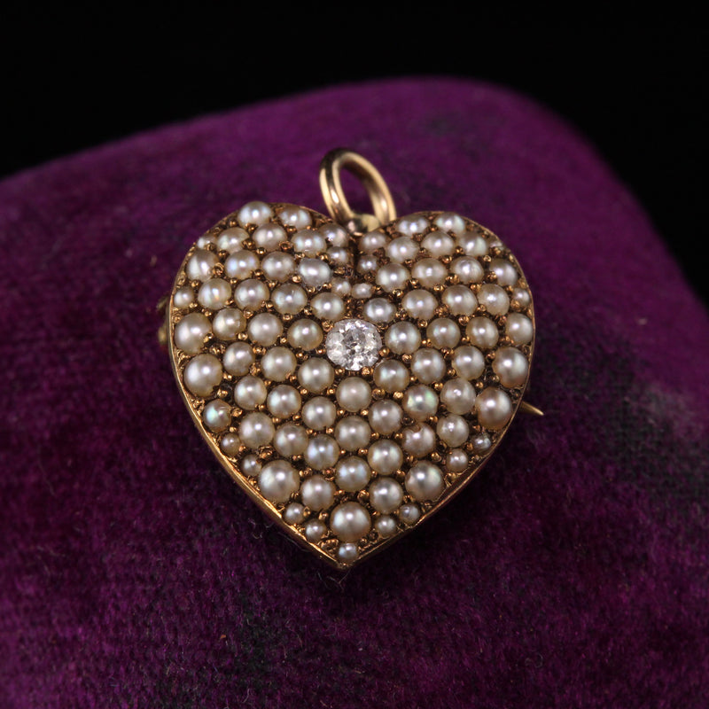 Antique Victorian 14K Yellow Gold Diamond and Natural Pearl Heart Pendant Pin