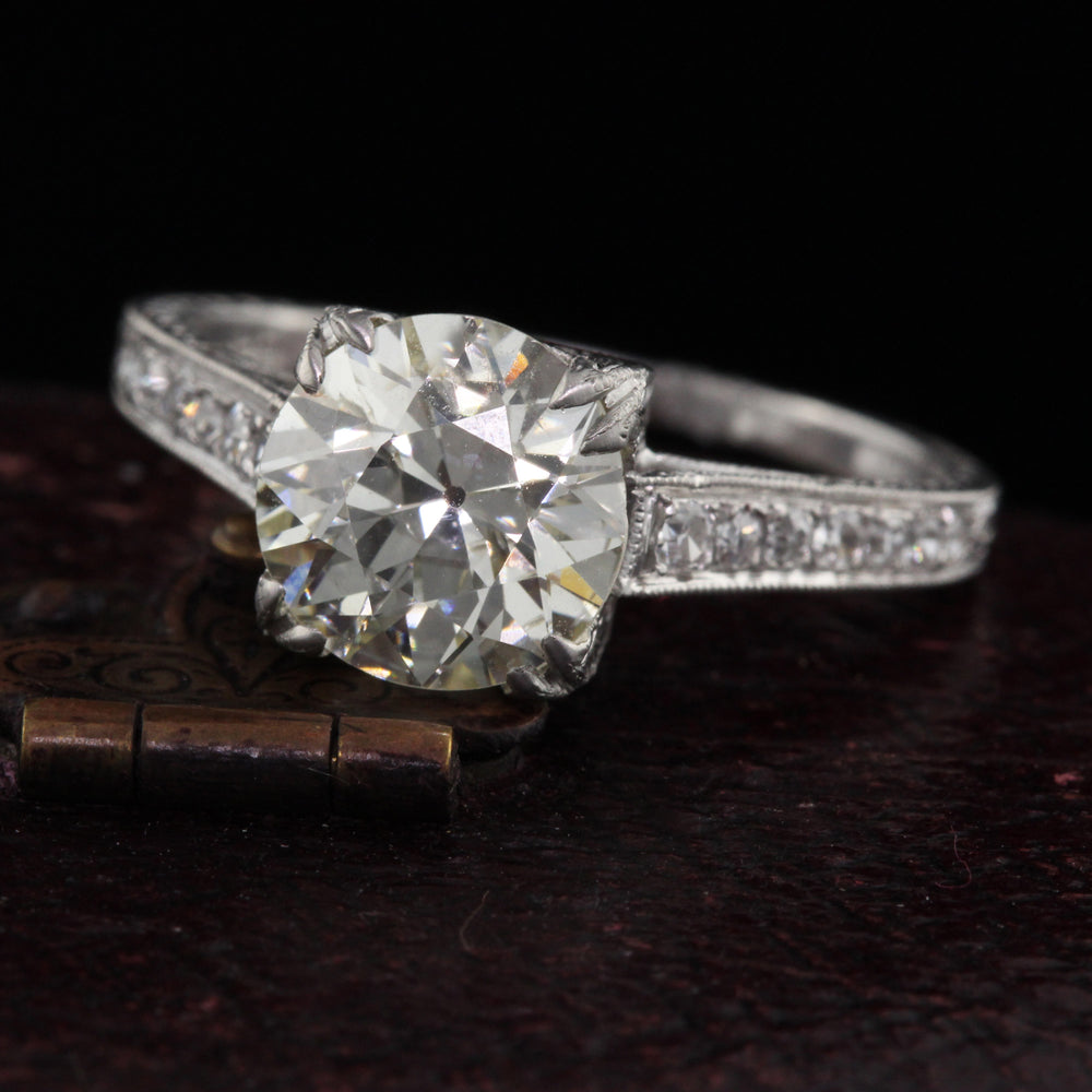 Antique Art Deco Platinum & 2.19 ct Diamond Engagement Ring