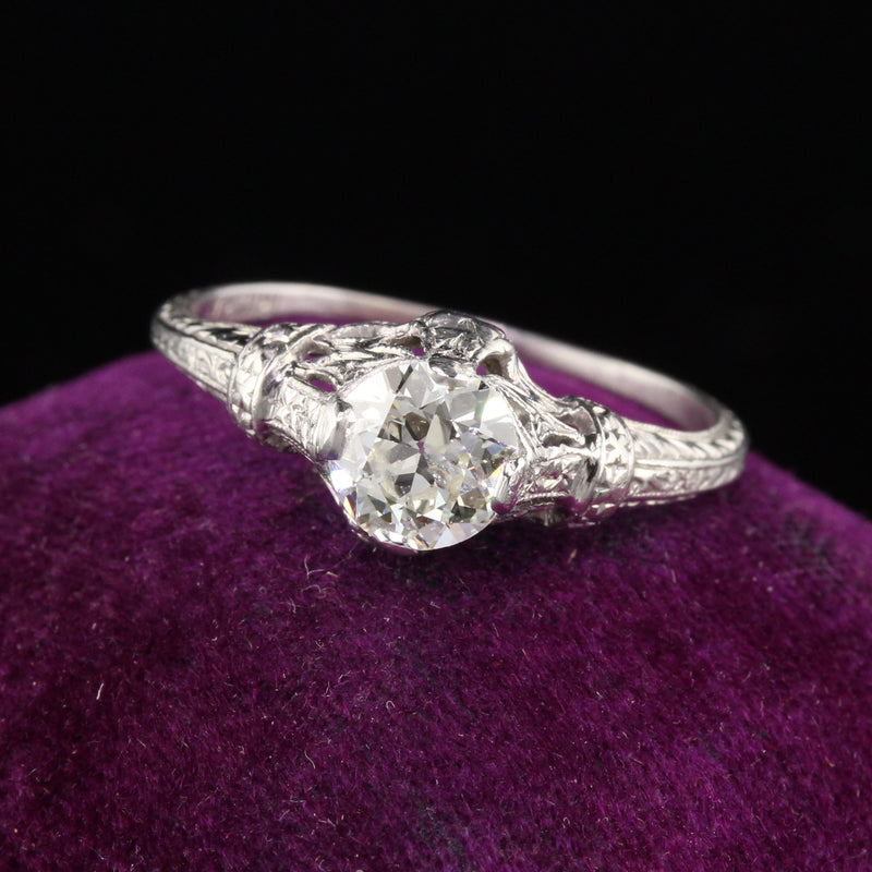 Antique Art Deco Platinum Diamond Engagement Ring - Size 6 3/4