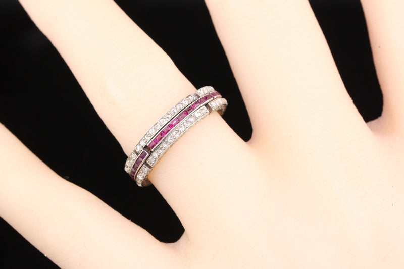 Layaway 5 of 12 - Antique Art Deco Platinum Diamond & Ruby Expandable Eternity Band - Size 6.5 - 8
