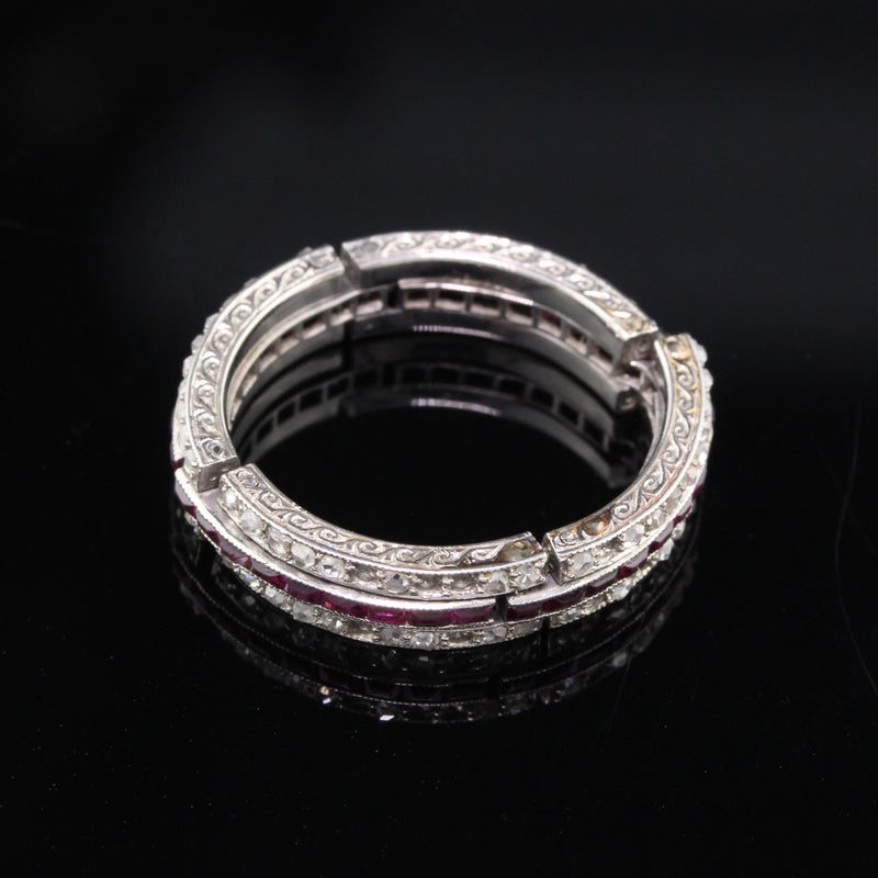 Layaway 4 of 12 - Antique Art Deco Platinum Diamond & Ruby Expandable Eternity Band - Size 6.5 - 8