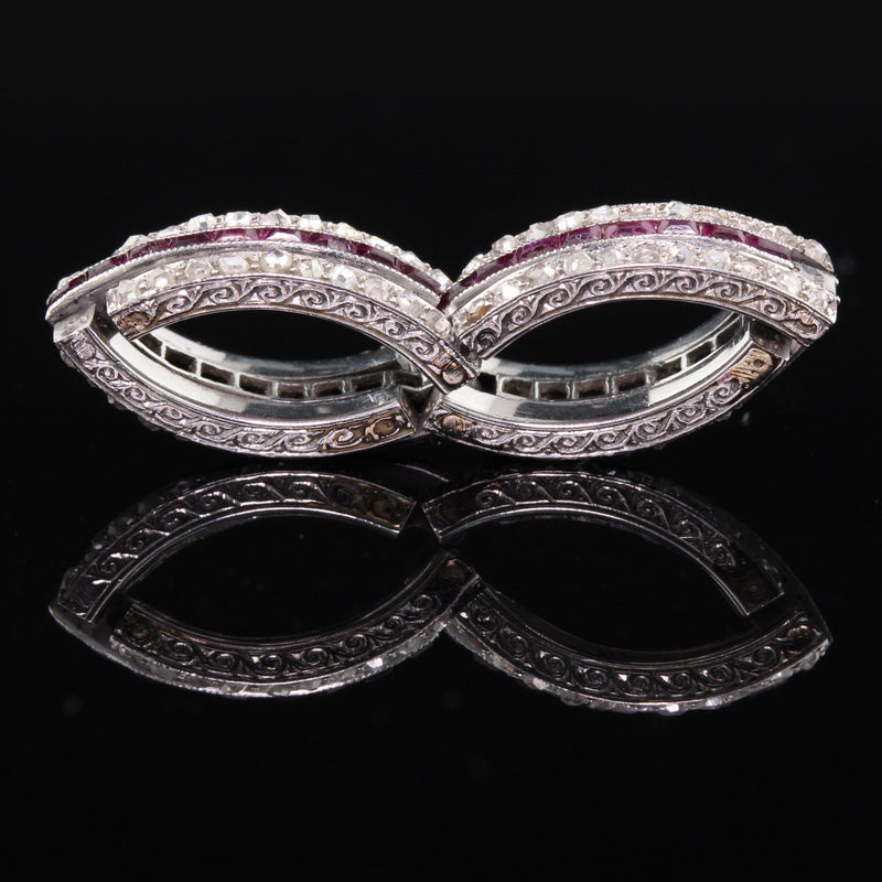 Layaway 8 of 12 - Antique Art Deco Platinum Diamond & Ruby Expandable Eternity Band - Size 6.5 - 8