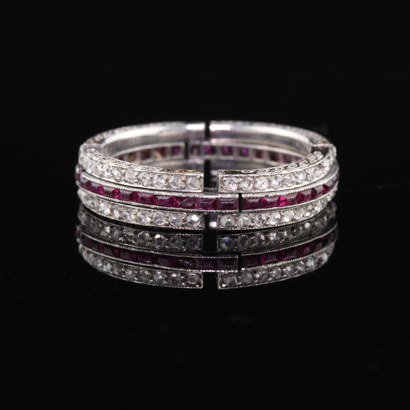 Layaway 12 of 12 - Antique Art Deco Platinum Diamond & Ruby Expandable Eternity Band - Size 6.5 - 8