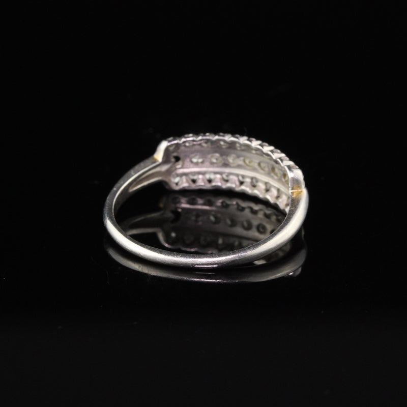 Antique Art Deco Platinum Wedding Band With Diamonds - Size 6 1/2