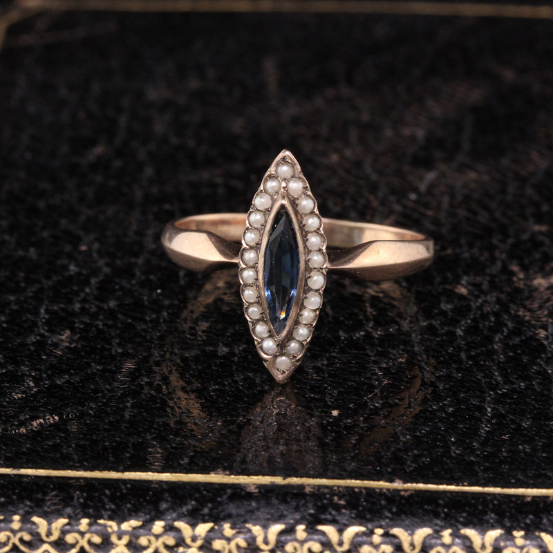 Victorian 8K Yellow Gold Sapphire & Pearls Ring - Size 8