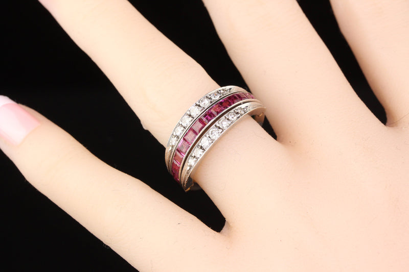 Vintage Estate 18K White Gold Ruby Emerald & Diamond Flip Band Ring - Size 8