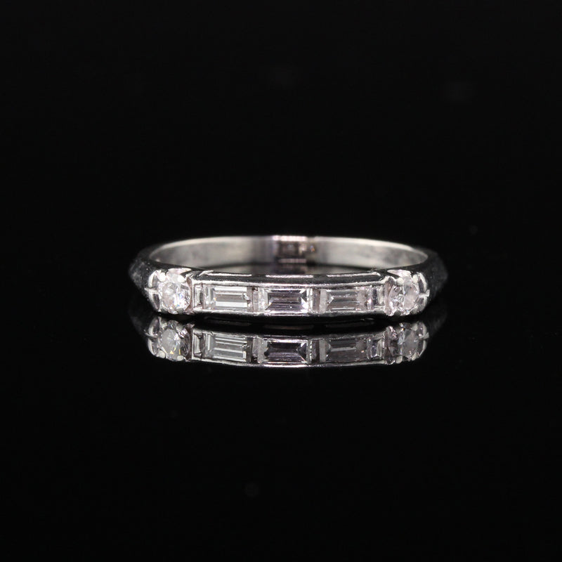 Antique Art Deco Platinum Baguette Diamond Half Eternity Band