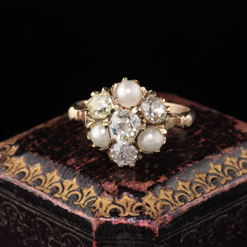 Antique Victorian 10K Yellow Gold Pearl & Diamond Cluster Engagement Ring