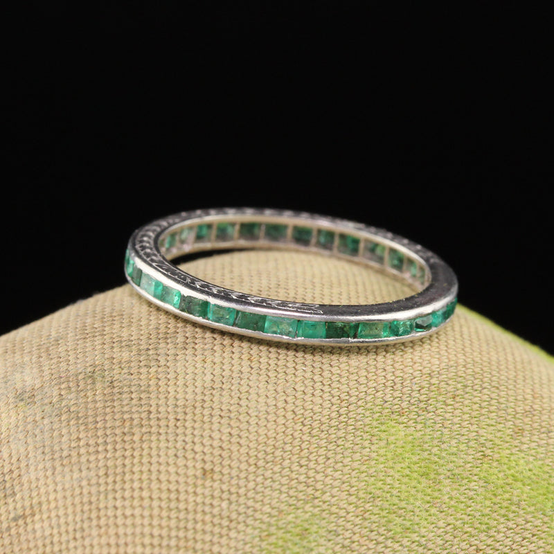 Antique Art Deco Platinum Emerald Eternity Band - Size 5.25