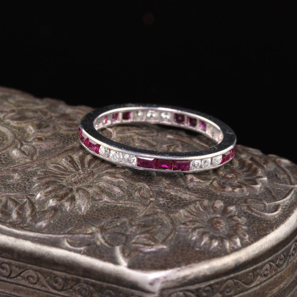 Antique Art Deco Platinum Diamond & Ruby Eternity Band - Size 5 1/4
