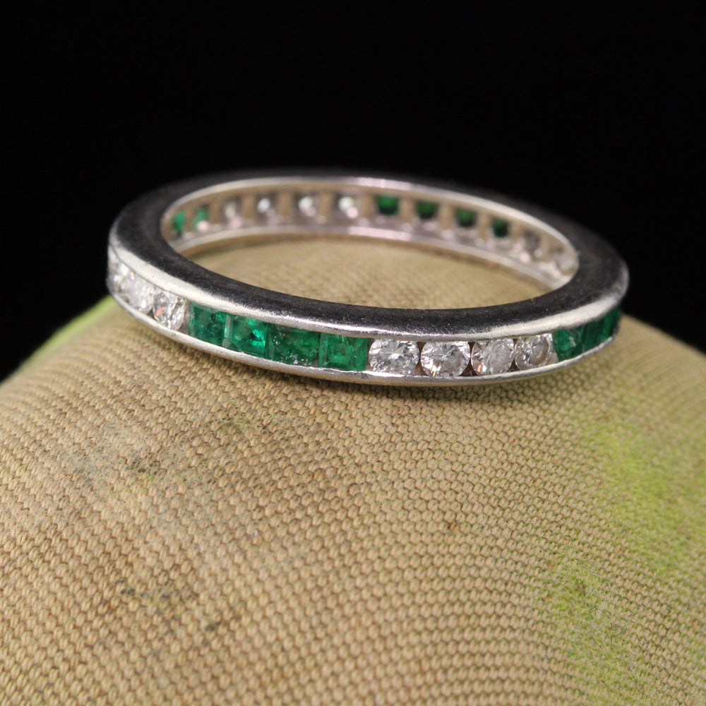 Vintage Estate Platinum Emerald & Diamond Eternity Band - Size 7.5