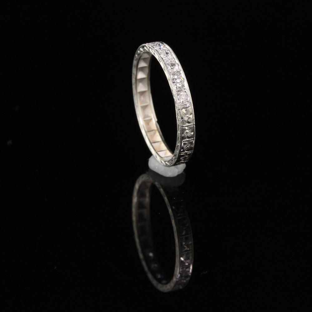 Antique Edwardian 18K White Gold & Diamond Half Eternity Band - Size 6