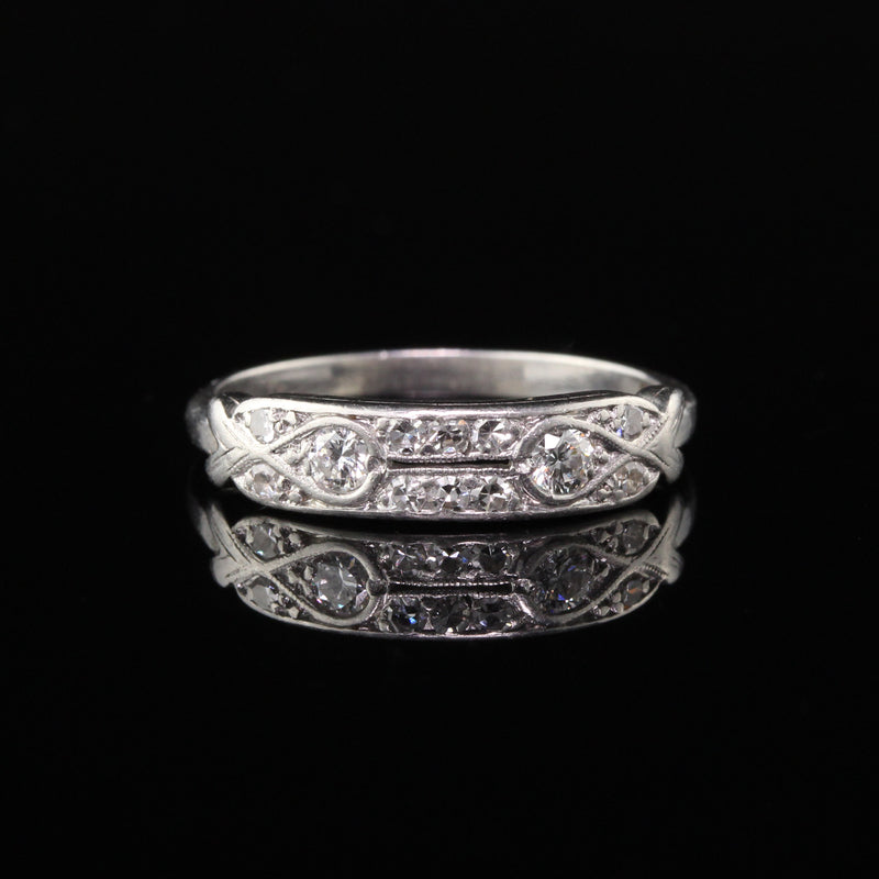 Antique Art Deco Platinum & Diamond Half Eternity Band