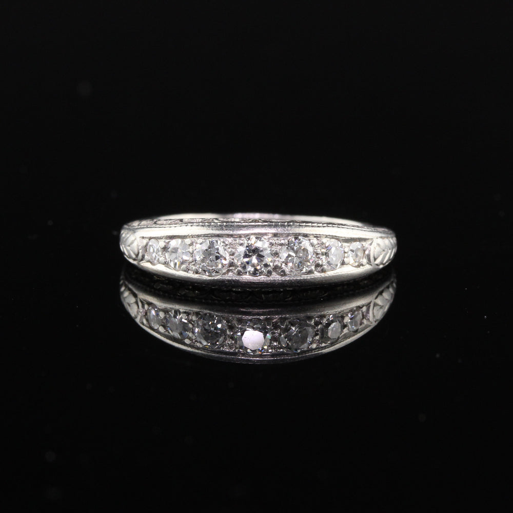 Antique Edwardian Platinum Diamond 7-Stone Half Eternity Band