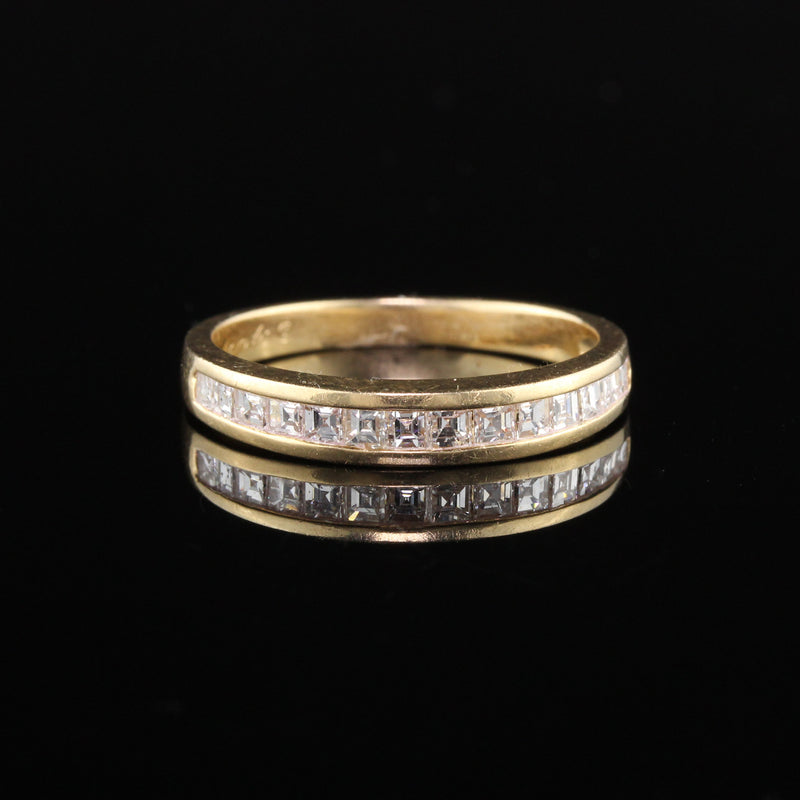 Vintage Retro 18K Yellow Gold Carre Cut Diamond Half Eternity Band
