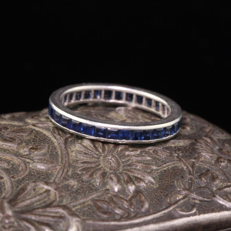 Antique Art Deco Platinum Tiffany & Co Sapphire Eternity Band - Size 5