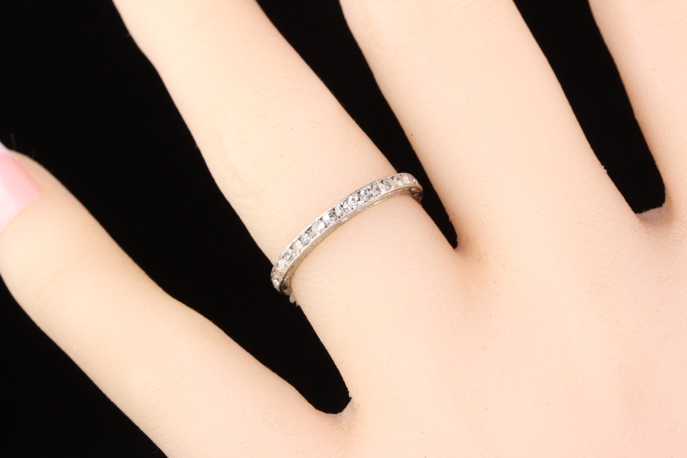 Circa 1929 - Antique Art Deco Platinum Diamond Eternity Band - Size 5.5