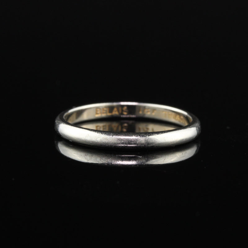 Antique Art Deco 18K White Gold Wedding Band - Size 6 1/2
