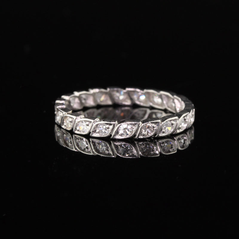 Antique Art Deco Platinum Diamond Eternity Band - Size 6 1/4