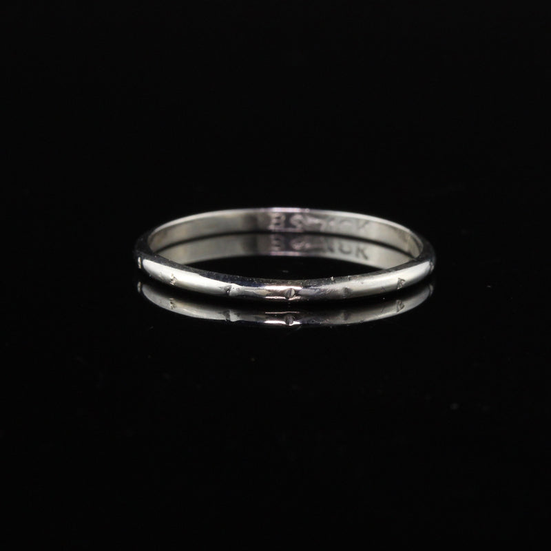 Antique Art Deco 18K White Gold Wedding Band - Size 6 1/4