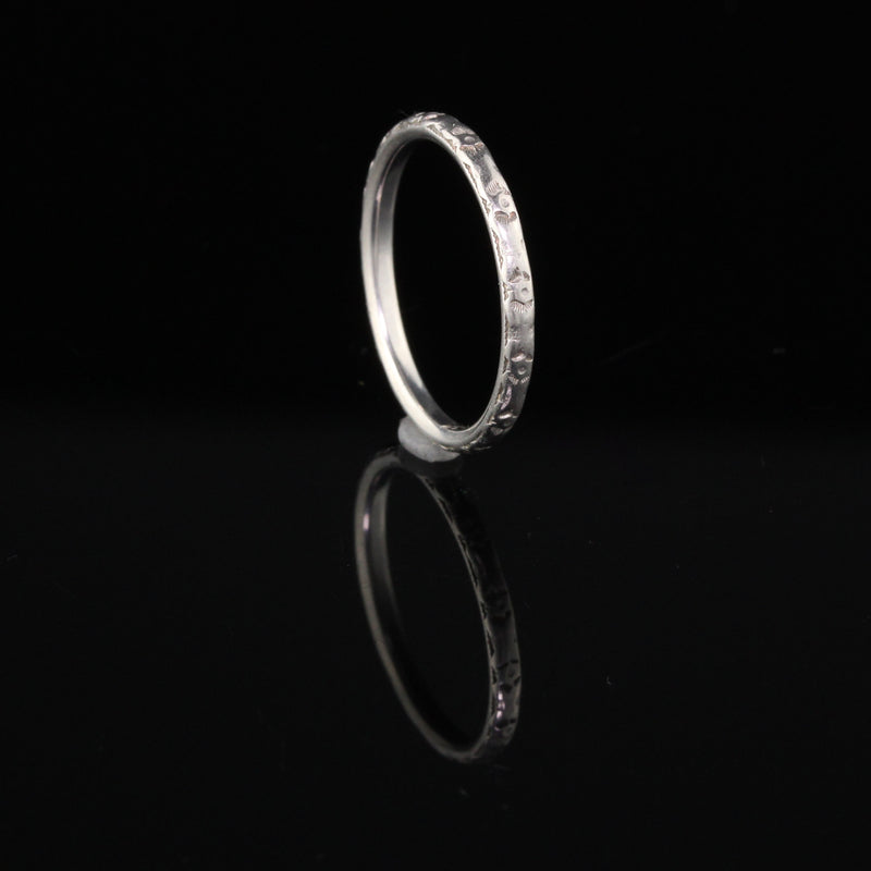 Antique Art Deco Platinum Engraved Wedding Band - Size 6
